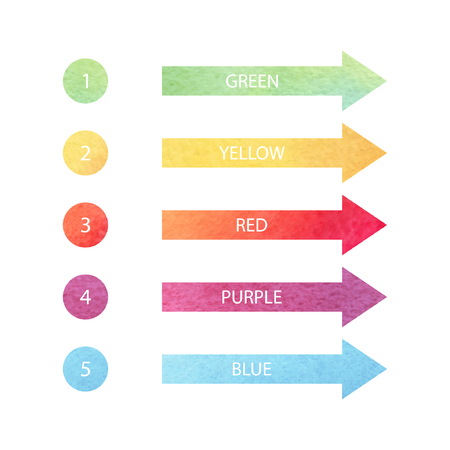 numbering: set of green, yellow, red, purple, blue arrows and circles with watercolor texture Illustration