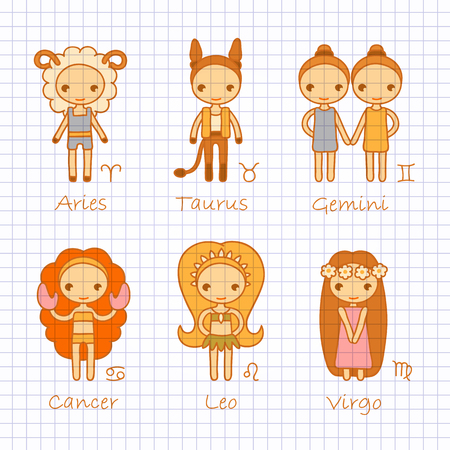 leon caricatura: Vector color mano dibujo signos del zodiaco Aries, Tauro, Géminis, Cáncer, Leo, Virgo Vectores