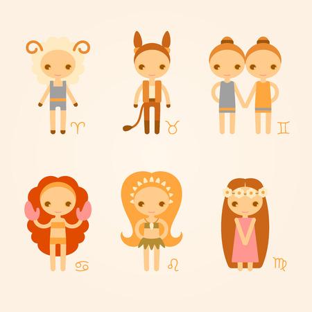 leon de dibujos animados: A vector zodiac signs aries, taurus, gemini, cancer, leo, virgo.