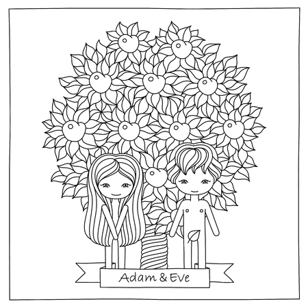 Ilustración Vectorial De Una Escena Bíblica Con Adán Y Eva. Fondo ...