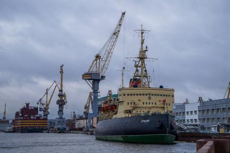 navigable: Saint Petersburg, Russia - December 26th, 2016: The icebreaker Krasin moored in Saint Petersburg