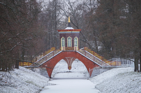 Chinese bridge in the gardens of Catherine the Greats palace at Tsarskoye Selo
