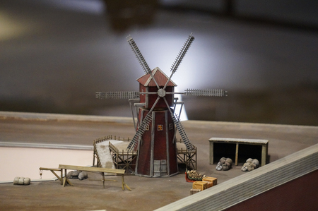 Saint Petersburg, Russia - 25.12.2016: Miniature windmill at the Petrovskaya Akvatoria museum Editorial