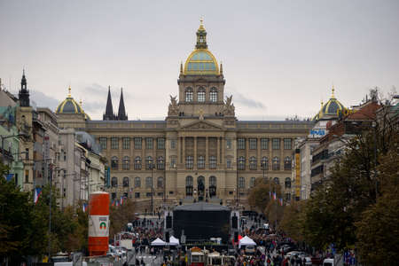 Prague, Czechia - 27.10.2018: Stage set up in Wenceslas Square with the National Museum building in the background