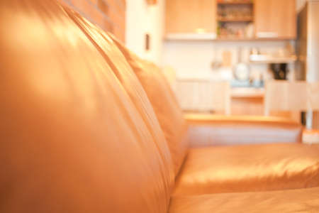 brown leather finished furniture photo