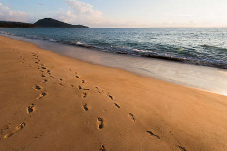 Beach, wave and footsteps at sunset time Imagens