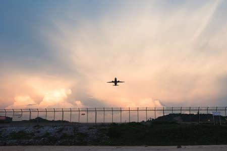 saint martin: The beach landscape, the plane