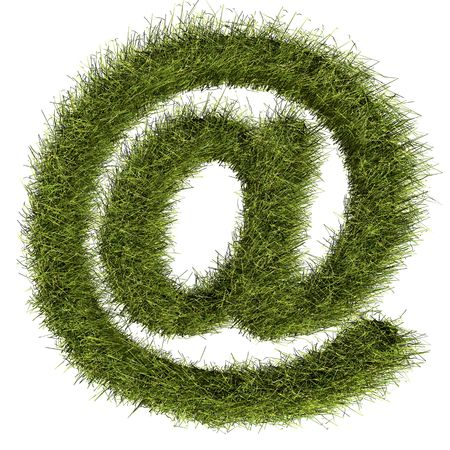 This grass @ symbol illustrate the paperless world which is environmental friendly  Stock Photo