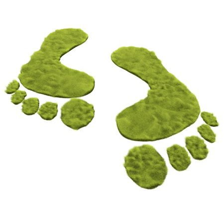Green grass foot print is to promote the green move instead of carbon foot print  photo