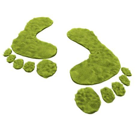 footprint: Impresi�n de pie de hierba verde es promover el movimiento verde en lugar de carbono pie de impresi�n