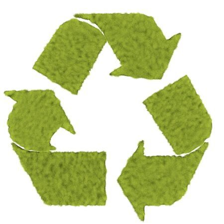 This is to illustrate the recycle symbol shaped by the grass field Stock Photo