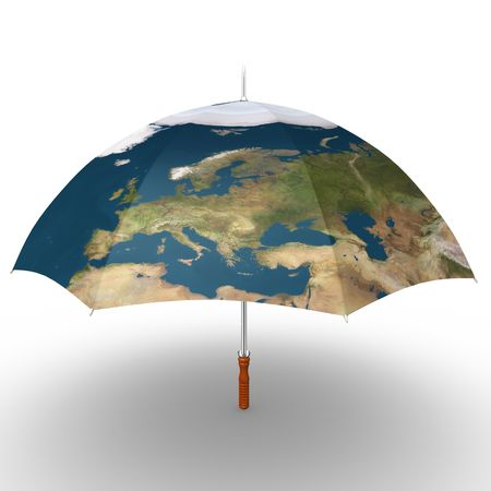 This is to illustrate the protection of earth by Europe Stock Photo