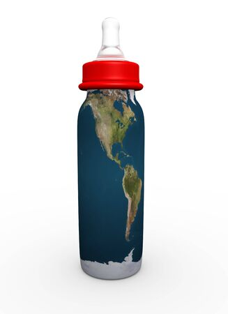 This is to illustrate the bottle milk with america map Stock Photo