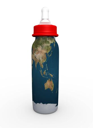 This is to illustrate the bottle milk with Asia and Australia map