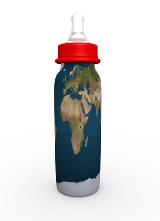 This is to illustrate the bottle milk with Europe, Africa and Middle East map