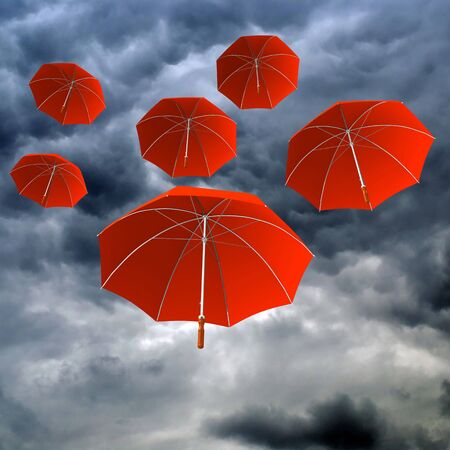 RED UMBRELLAS IN THE CLOUDY DAY