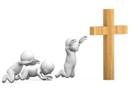 3D illustration of a christian worshipers