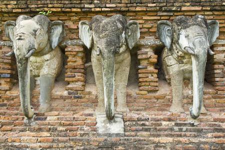 Chedi ,elephant , Wat Sorasak, Sukothai, Thailand. Stock Photo - 7302192