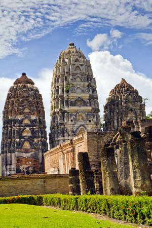 Wat Sri Sawai , be a temple where have outstanding identity in old Sukothai city photo