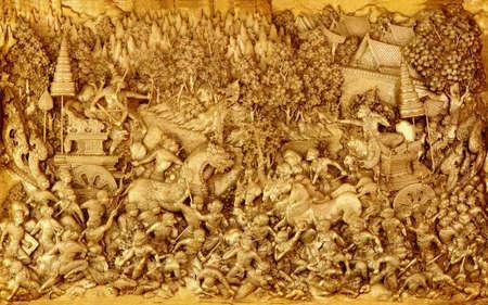 picture Hanuman sculpture is thatting fight with a demon ( , be public location sculpture in a temple , Pathom J D, NakhonPathom city , Thailand )