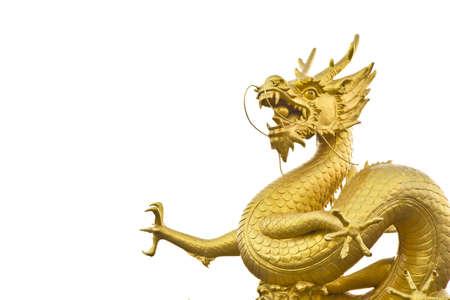 gold dragon on white background , Phuket city , Thailand , photo