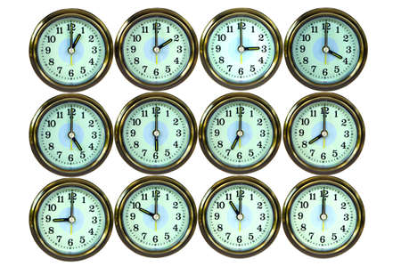 12 clocks are time , on white background , Stock Photo - 7649183