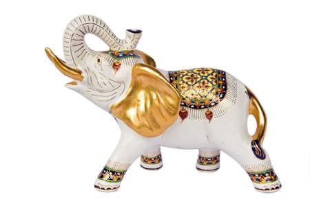 molded elephant white figure that have Thai design on white background ,  Stock Photo