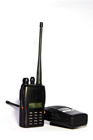 the radio communication is black , be a tool that communicate the official ,  Stock Photo - 7707027