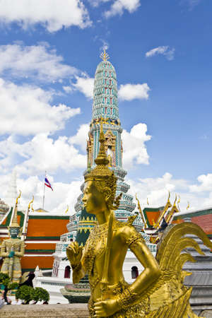 Golden Deva in Wat Phra Kaeo, Bangkok,Thailand(  temple place and the sculpture in Thailand temple , be of the public has no which copyright protects ) photo