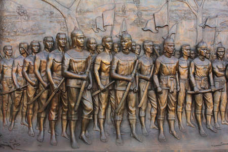 establishes:  the sculpture filters soldier Thai time bow troops cuts ,( , molded this figure establishes in gold border tours Thailand , be of nobody public is owner of )  Stock Photo