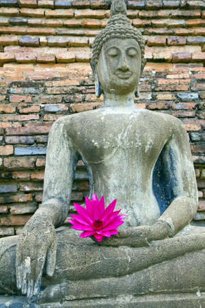 pink lotus on Buddha old , at city old Sukothai temple , Thailand ,  ( , molded this figure establishes in gold border tours Thailand , be of nobody public is owner of ) photo