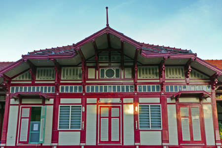 the residence of people in railroad Huahin station , be railroad pretty station most in Thailand , ( , this picture is the railroad station was established for the public has no which copyright cloudy puts on ) photo