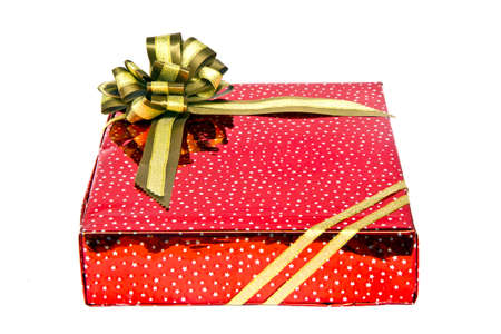 public celebratory event: gift red box has color gold bow