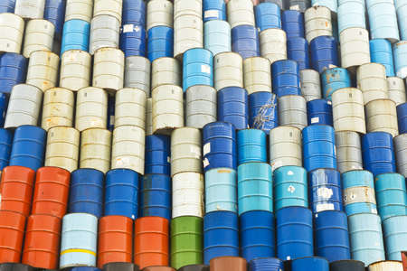 l petrol: fuel tank old drum Thailand harbour Stock Photo