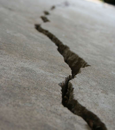 earthquake crack: Crack in concrete or foundation
