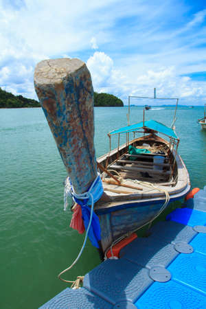 boat dock: Boat dock waiting passengers are tourists Railay Beach. Stock Photo