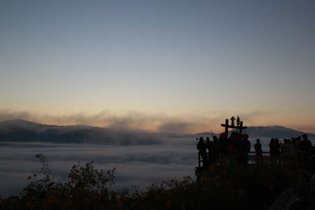 city of sunrise: Sea fog Yun Laii Viewpoint is situated in Shandicun or Yunnan Chinese village which is located 4.5 kilometers from Pai in Mae Hong Son province, northern Thailand. Stock Photo