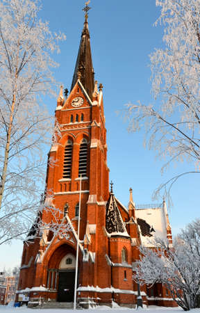 Church in Lulea city in north of Sweden in cold bright winter photo