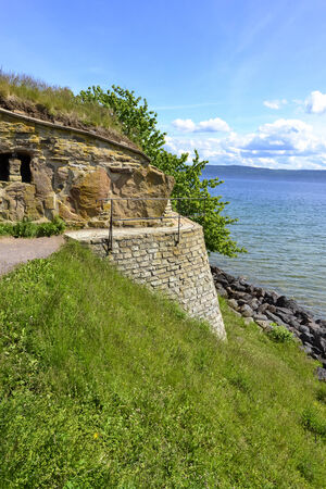 lived here: Ruins of castle of Nas in Swedish island Visingso with a scenic view of the lake Vattern  Several swedish kings lived here  Stock Photo
