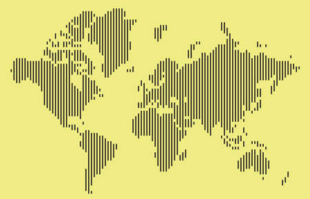 vertical bar: Abstract black vertical bar world map  isolated on yellow background. Vector Illustration. Illustration