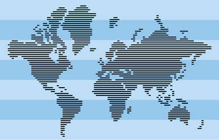 Abstract black horizontal bar world map isolated on blue stripe background.  Vector Illustration.