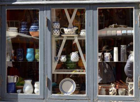 store window: store window tableware Stock Photo