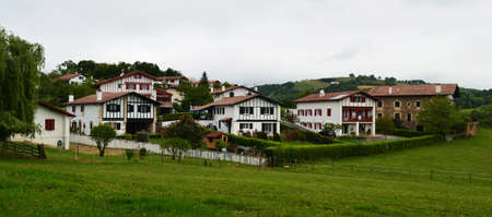 small country town: small town in the Basque Country Stock Photo