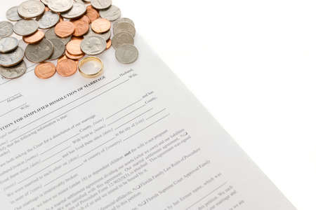 Divorce Form With Spread Pile Of American Coins photo