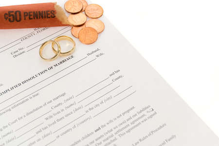 Divorce Form With Open Roll Of Coins And Pair Of Wedding Rings photo