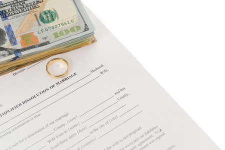 divorce court: Divorce Form With Stack Of Hundred Dollars Bills And Single Wedding Ring Stock Photo