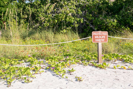 refuge: Protect Wildlife Sign At Sanibel Island, Florida - USA