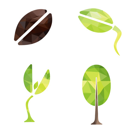seed pots: From seed to tree geometry shape design Icon Vector