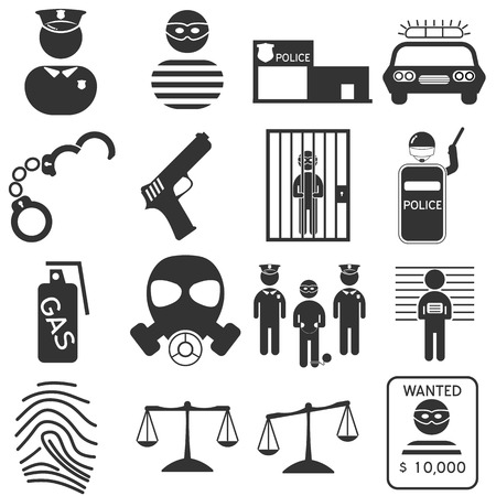 mugshot: Police Icon Set Illustration