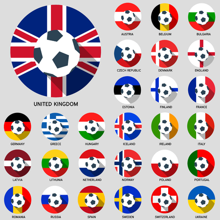 Europe Football Flag Flat icon with Long Shadow Vector